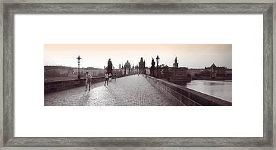 Tourist Walking On A Bridge, Charles Framed Print