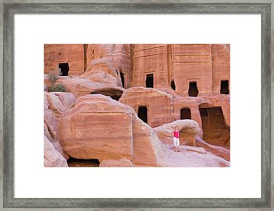 Tourist With Uneishu Tomb, Petra Framed Print by Keren Su