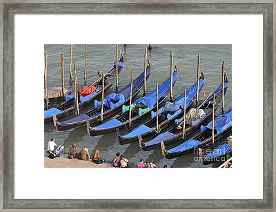 Tourists And Row Of Empty Moored Gondolas Framed Print