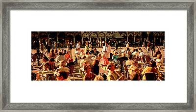 Tourists At A Sidewalk Cafe, Venice Framed Print by Panoramic Images