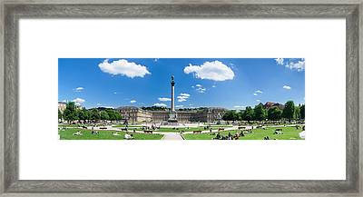 Tourists At A Town Square, New Palace Framed Print