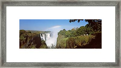 Tourists At A Viewing Point Looking Framed Print by Panoramic Images