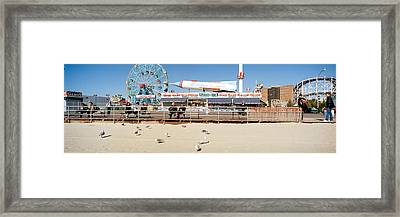 Tourists At An Amusement Park, Coney Framed Print