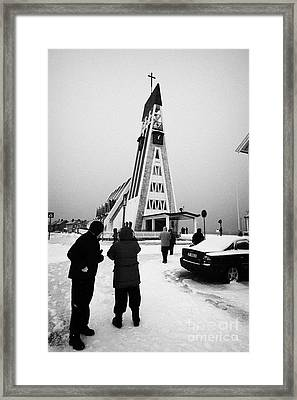 Tourists At Hammerfest Church Finnmark Norway Europe Framed Print
