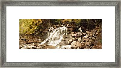Tourists At Kaaterskill Falls, Catskill Framed Print by Panoramic Images