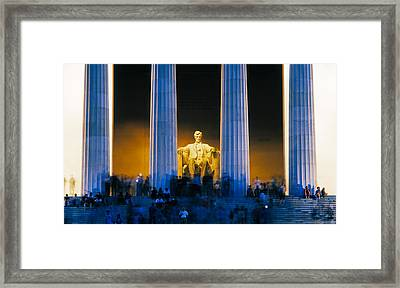 Tourists At Lincoln Memorial Framed Print by Panoramic Images