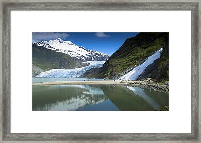 Tourists At Nugget Falls Mendenhall Framed Print by Flip Nicklin
