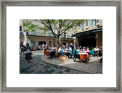 Tourists At Sidewalk Cafes, Lourmarin Framed Print by Panoramic Images