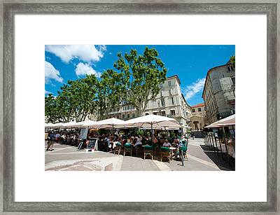 Tourists At Sidewalk Cafes, Place De Framed Print by Panoramic Images