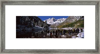 Tourists At The Lakeside, Maroon Bells Framed Print by Panoramic Images