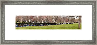 Tourists At Vietnam Veterans Memorial Framed Print