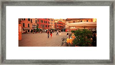 Tourists In A City, Venice, Italy Framed Print