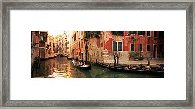 Tourists In A Gondola, Venice, Italy Framed Print by Panoramic Images