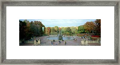 Tourists In A Park, Bethesda Fountain Framed Print by Panoramic Images