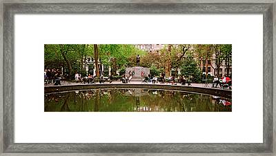 Tourists In A Park, Madison Square Framed Print by Panoramic Images