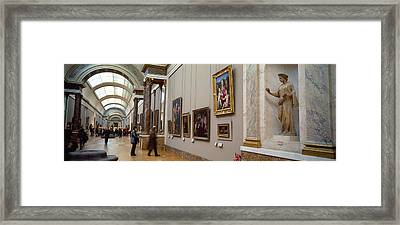 Tourists In An Art Museum, Musee Du Framed Print