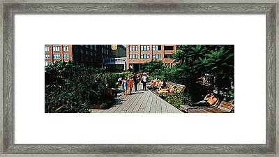 Tourists In An Elevated Park, High Framed Print