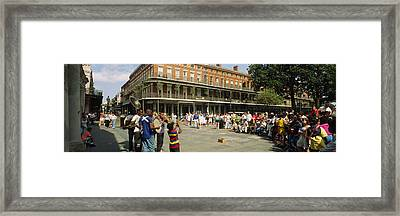 Tourists In Front Of A Building, New Framed Print by Panoramic Images