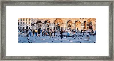 Tourists In Front Of A Cathedral, St Framed Print by Panoramic Images