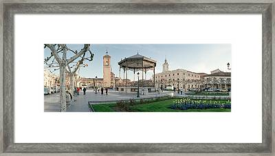 Tourists In Front Of Buildings, Plaza Framed Print by Panoramic Images