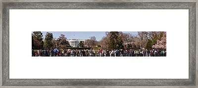 Tourists In Front Of White House Framed Print