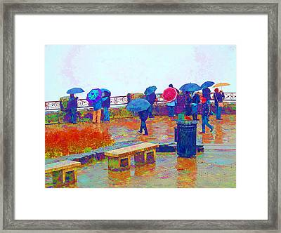 Tourists In The Rain Framed Print