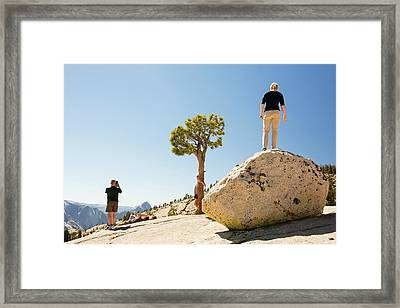 Tourists In Yosemite National Park Framed Print