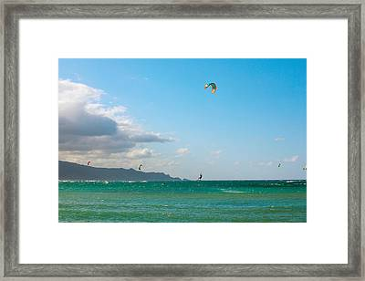 Tourists Kiteboarding In The Ocean Framed Print by Panoramic Images
