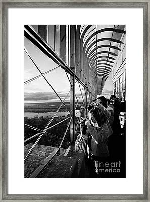 Tourists  Look At The View And Take Photos From Observation Deck Empire State Building Framed Print