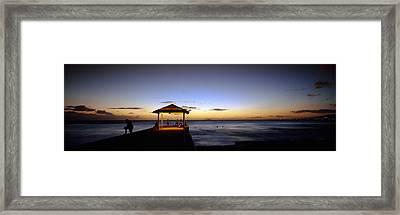 Tourists On A Pier, Waikiki Beach Framed Print