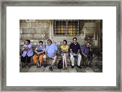 Tourists On Bench - Dubrovnik, Croatia Framed Print