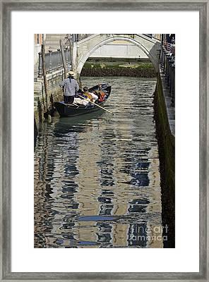 Tourists On Gondola On Canal Framed Print
