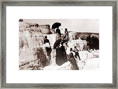 Tourists On Mammoth Terraces Framed Print