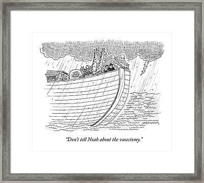 Tourists On Noah's Ark Framed Print by Mick Stevens