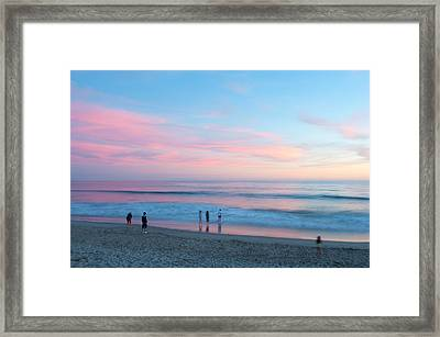 Tourists On The Beach At Sunset, Santa Framed Print