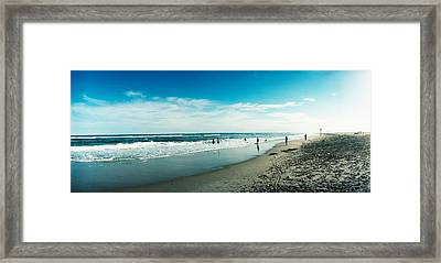 Tourists On The Beach, Fort Tilden Framed Print