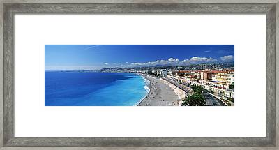 Tourists On The Beach, Nice, Promenade Framed Print