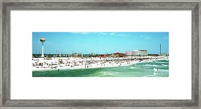 Tourists On The Beach, Pensacola Framed Print