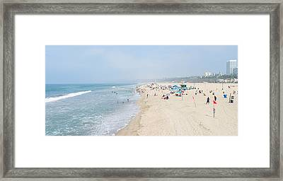 Tourists On The Beach, Santa Monica Framed Print by Panoramic Images
