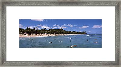 Tourists On The Beach, Waikiki Beach Framed Print