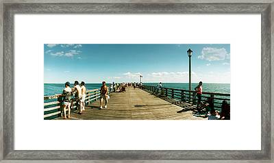 Tourists On The Coney Island Pier Framed Print