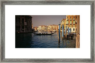 Tourists Sitting In A Gondola, Grand Framed Print
