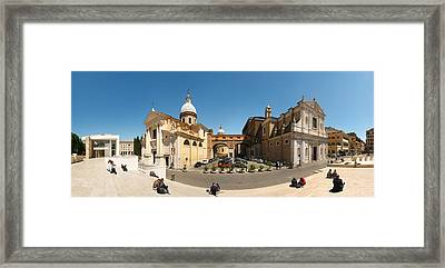 Tourists Sitting On Steps At Piazza Framed Print