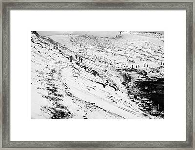 tourists walking along ridge at hannah point penguin colony Antarctica Framed Print