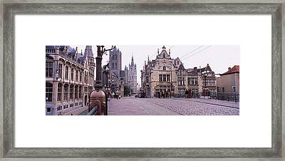 Tourists Walking In Front Of A Church Framed Print by Panoramic Images