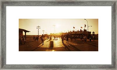 Tourists Walking On A Boardwalk, Coney Framed Print by Panoramic Images