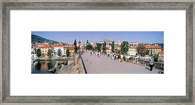 Tourists Walking On A Bridge, Charles Framed Print by Panoramic Images