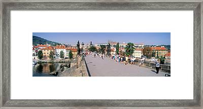 Tourists Walking On A Bridge, Charles Framed Print