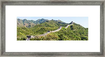 Tourists Walking On A Wall, Great Wall Framed Print