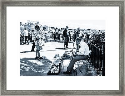 tourists watching busker playing santoor dulcimer at Tarragona S Framed Print